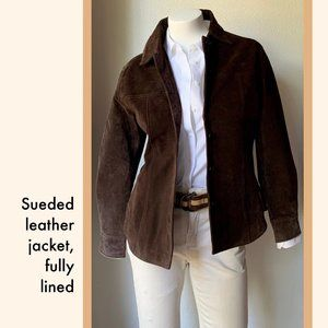 Suede tailored shirt-style leather jacket, brown